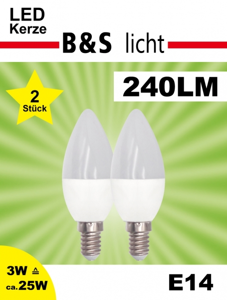LED Kerze im Doppelpack C37 3W 240 lm